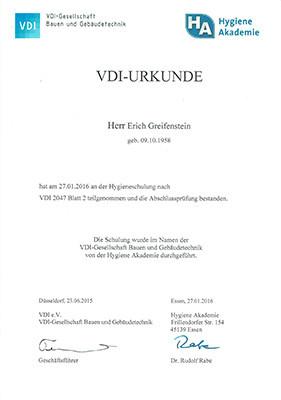 Zertifikat für die Überprüfung von Verdunstungskühlanlagen